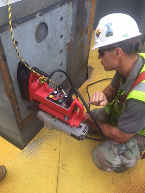 Setting Drill Template with Laser Tracker and drill holes with mag base drill